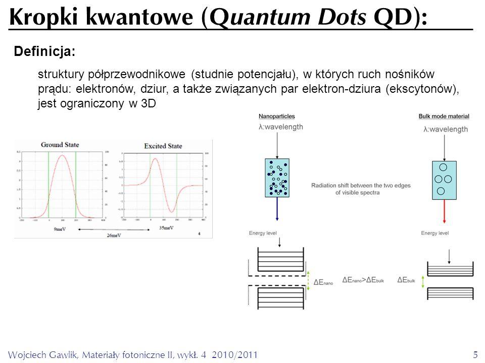 Wojciech Gawlik, Materiały fotoniczne II, wykł. 4 2010/20115 Definicja: Kropki kwantowe (Q uantum Dots QD): struktury półprzewodnikowe (studnie potenc