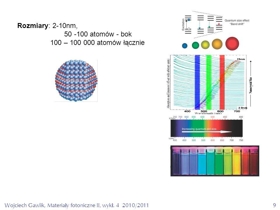 Wojciech Gawlik, Materiały fotoniczne II, wykł. 4 2010/20119 Rozmiary: 2-10nm, 50 -100 atomów - bok 100 – 100 000 atomów łącznie