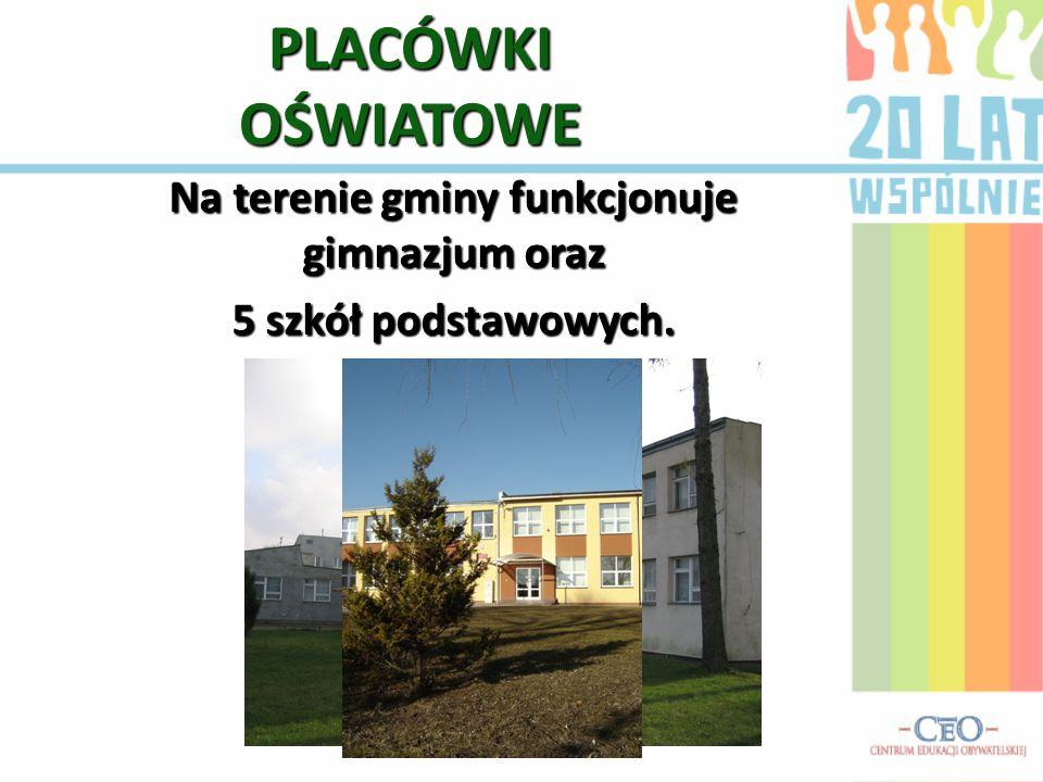PLACÓWKI OŚWIATOWE Na terenie gminy funkcjonuje gimnazjum oraz 5 szkół podstawowych.