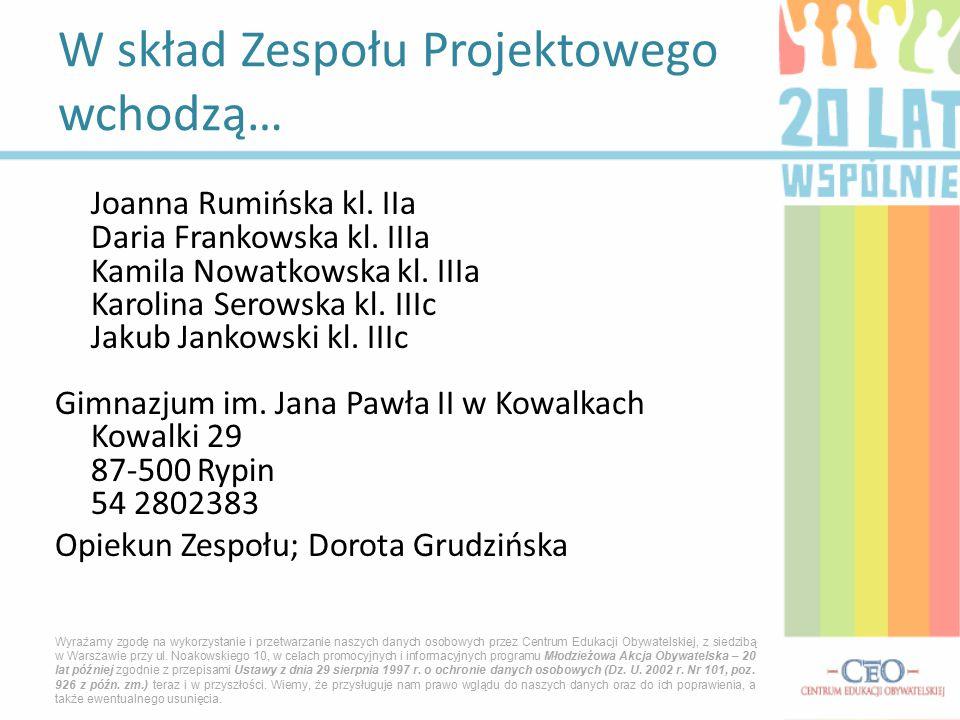 Joanna Rumińska kl. IIa Daria Frankowska kl. IIIa Kamila Nowatkowska kl. IIIa Karolina Serowska kl. IIIc Jakub Jankowski kl. IIIc Gimnazjum im. Jana P