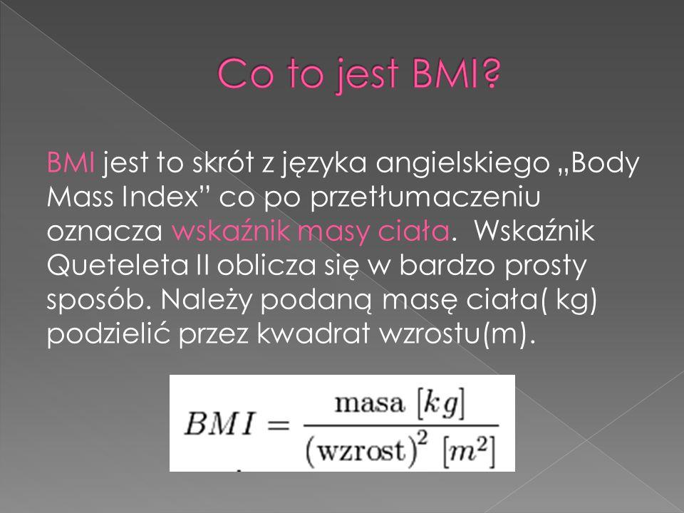 """BMI jest to skrót z języka angielskiego """"Body Mass Index co po przetłumaczeniu oznacza wskaźnik masy ciała."""