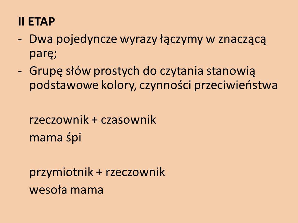 II ETAP -Dwa pojedyncze wyrazy łączymy w znaczącą parę; -Grupę słów prostych do czytania stanowią podstawowe kolory, czynności przeciwieństwa rzeczown