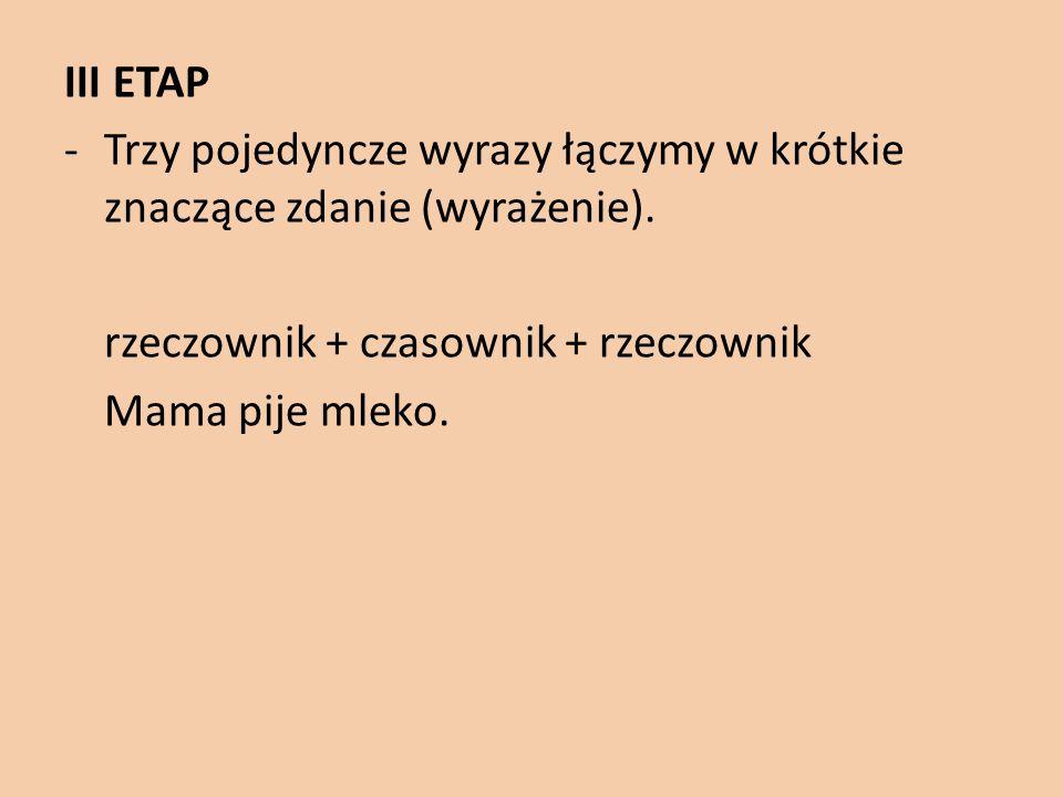 III ETAP -Trzy pojedyncze wyrazy łączymy w krótkie znaczące zdanie (wyrażenie). rzeczownik + czasownik + rzeczownik Mama pije mleko.