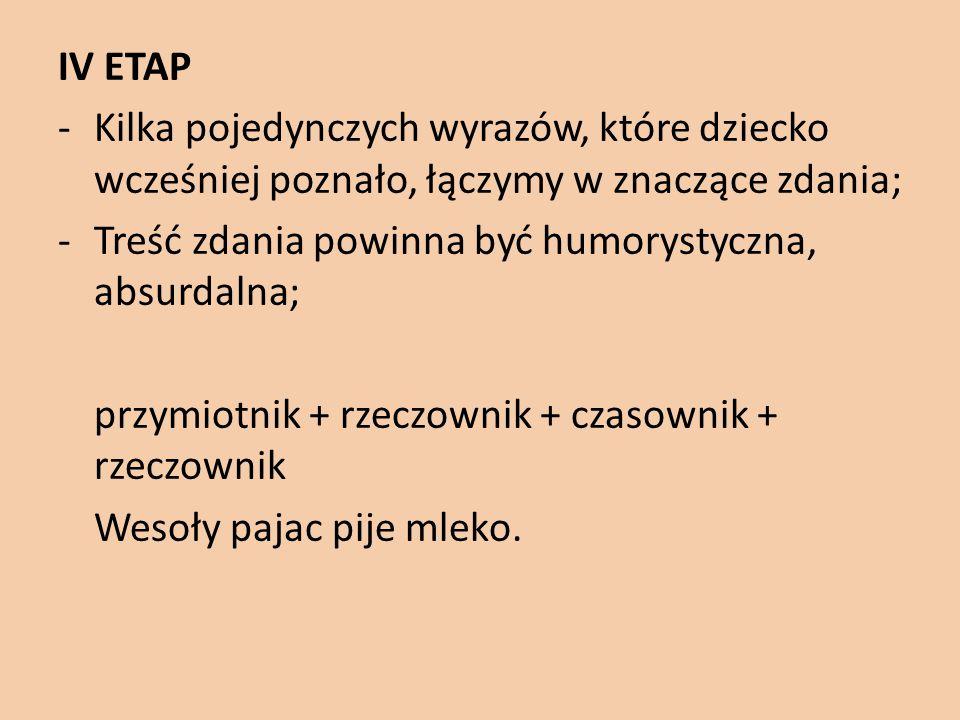 IV ETAP -Kilka pojedynczych wyrazów, które dziecko wcześniej poznało, łączymy w znaczące zdania; -Treść zdania powinna być humorystyczna, absurdalna;