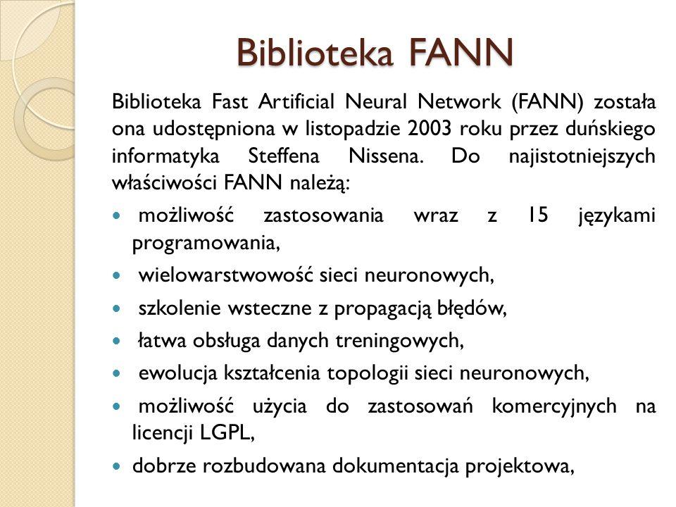 Biblioteka FANN Biblioteka Fast Artificial Neural Network (FANN) została ona udostępniona w listopadzie 2003 roku przez duńskiego informatyka Steffena
