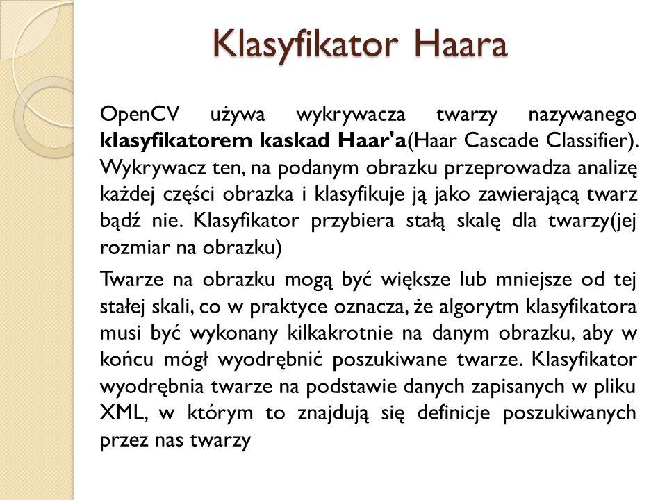 OpenCV używa wykrywacza twarzy nazywanego klasyfikatorem kaskad Haar'a(Haar Cascade Classifier). Wykrywacz ten, na podanym obrazku przeprowadza analiz
