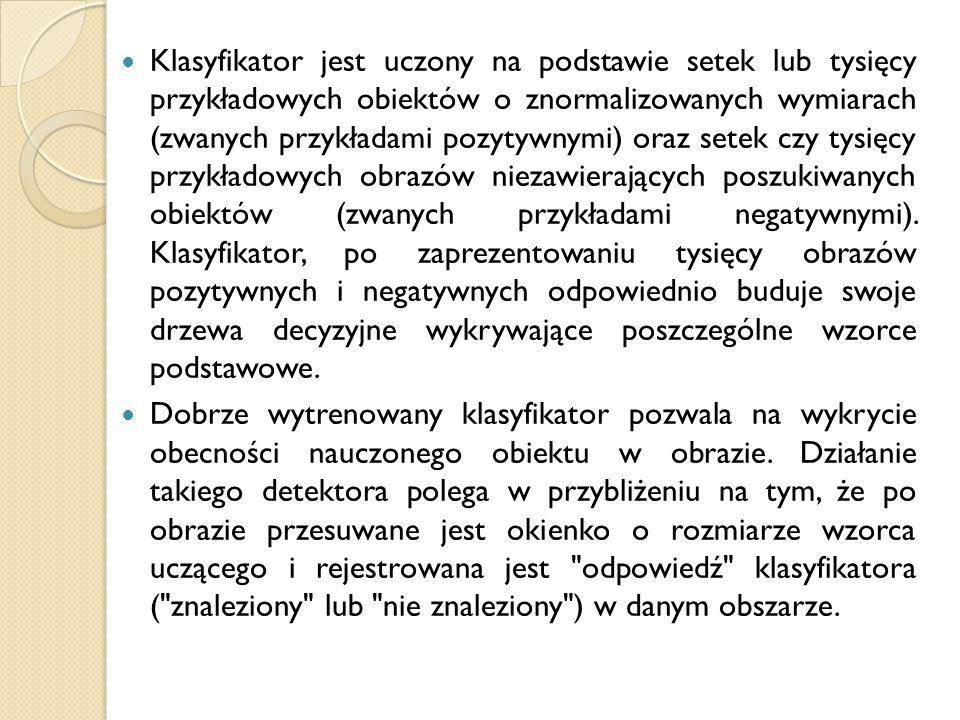 Klasyfikator jest uczony na podstawie setek lub tysięcy przykładowych obiektów o znormalizowanych wymiarach (zwanych przykładami pozytywnymi) oraz set