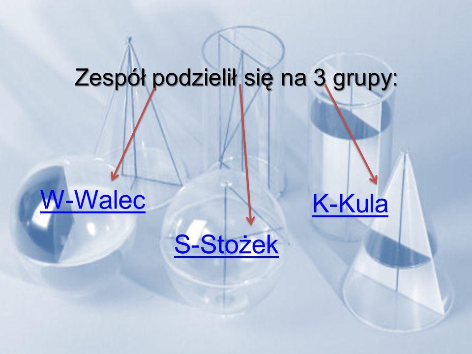Zespół podzielił się na 3 grupy: W-Walec S-Stożek K-Kula