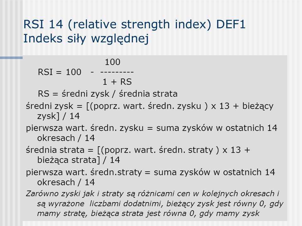 RSI 14 (relative strength index) DEF1 Indeks siły względnej 100 RSI = 100 - --------- 1 + RS RS = średni zysk / średnia strata średni zysk = [(poprz.