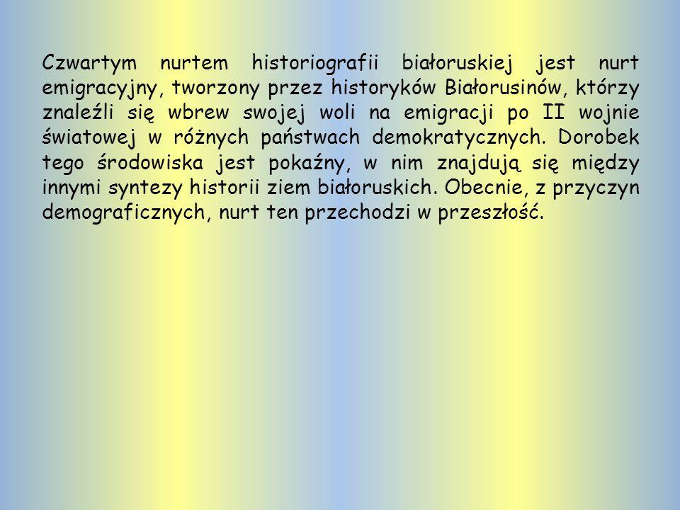 Obok istnieje - zwalczana przez struktury państwowe - historiografia niezależna, nawiązująca do metodologii państw demokratycznych, którą można nazwać