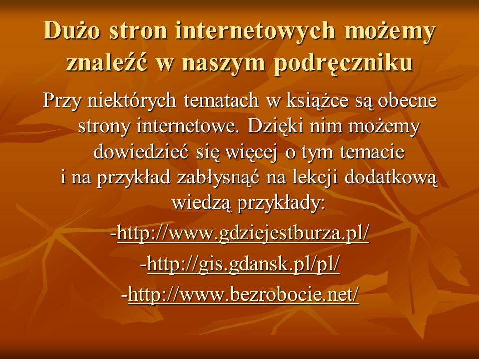Dużo stron internetowych możemy znaleźć w naszym podręczniku Przy niektórych tematach w książce są obecne strony internetowe.