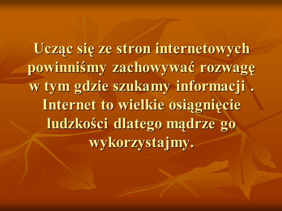 Ucząc się ze stron internetowych powinniśmy zachowywać rozwagę w tym gdzie szukamy informacji.