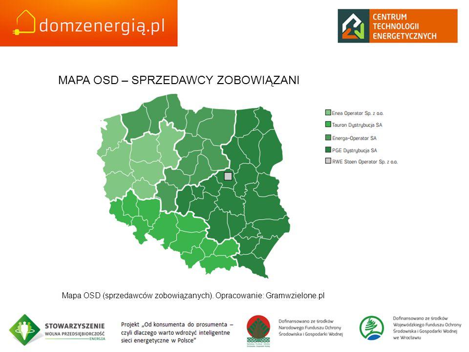 MAPA OSD – SPRZEDAWCY ZOBOWIĄZANI Mapa OSD (sprzedawców zobowiązanych). Opracowanie: Gramwzielone.pl