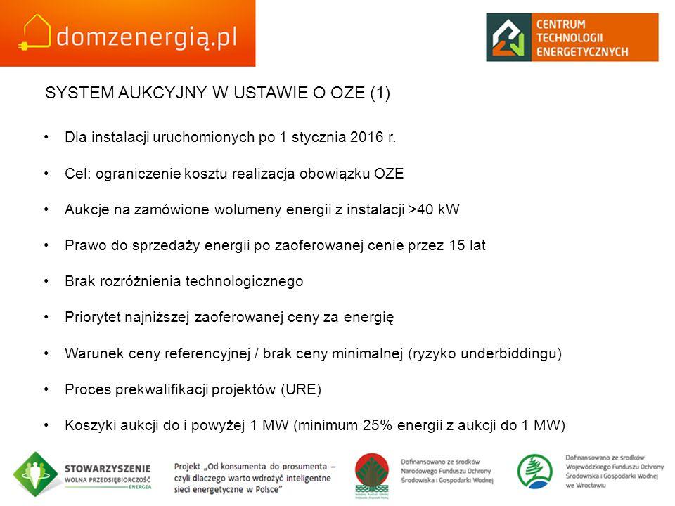 SYSTEM AUKCYJNY W USTAWIE O OZE (1) Dla instalacji uruchomionych po 1 stycznia 2016 r. Cel: ograniczenie kosztu realizacja obowiązku OZE Aukcje na zam