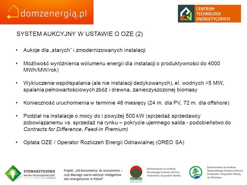 """SYSTEM AUKCYJNY W USTAWIE O OZE (2) Aukcje dla """"starych i zmodernizowanych instalacji Możliwość wyróżnienia wolumenu energii dla instalacji o produktywności do 4000 MWh/MW/rok) Wykluczenie współspalania (ale nie instalacji dedykowanych), el."""