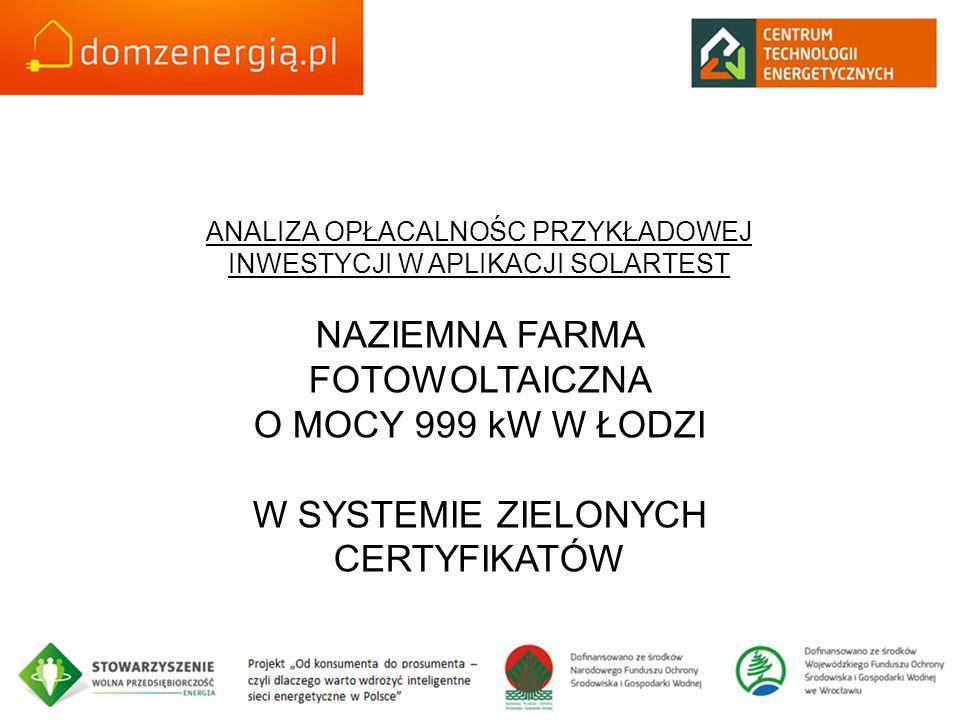 ANALIZA OPŁACALNOŚC PRZYKŁADOWEJ INWESTYCJI W APLIKACJI SOLARTEST NAZIEMNA FARMA FOTOWOLTAICZNA O MOCY 999 kW W ŁODZI W SYSTEMIE ZIELONYCH CERTYFIKATÓW