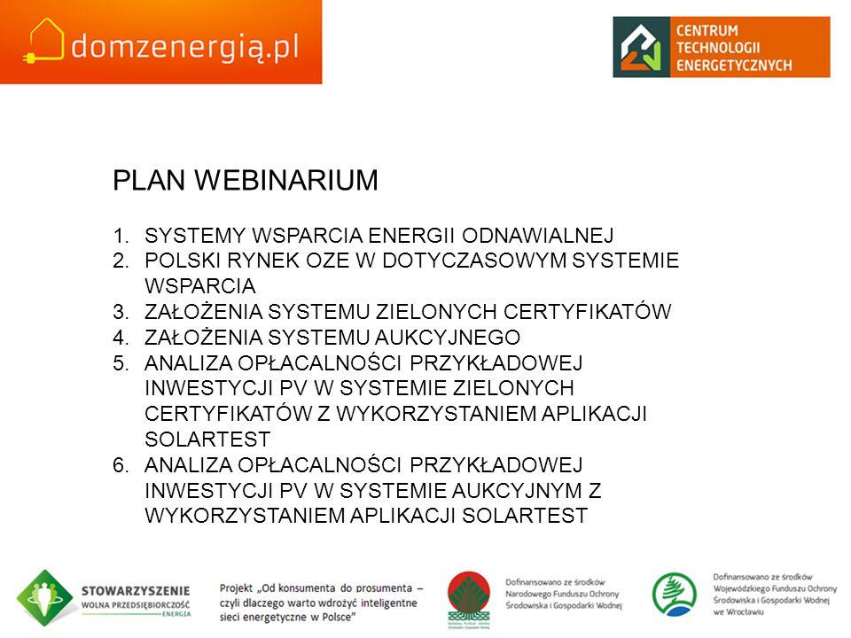 PLAN WEBINARIUM 1.SYSTEMY WSPARCIA ENERGII ODNAWIALNEJ 2.POLSKI RYNEK OZE W DOTYCZASOWYM SYSTEMIE WSPARCIA 3.ZAŁOŻENIA SYSTEMU ZIELONYCH CERTYFIKATÓW 4.ZAŁOŻENIA SYSTEMU AUKCYJNEGO 5.ANALIZA OPŁACALNOŚCI PRZYKŁADOWEJ INWESTYCJI PV W SYSTEMIE ZIELONYCH CERTYFIKATÓW Z WYKORZYSTANIEM APLIKACJI SOLARTEST 6.ANALIZA OPŁACALNOŚCI PRZYKŁADOWEJ INWESTYCJI PV W SYSTEMIE AUKCYJNYM Z WYKORZYSTANIEM APLIKACJI SOLARTEST