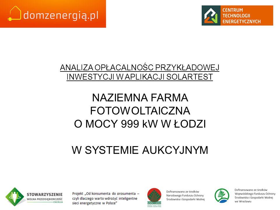 ANALIZA OPŁACALNOŚC PRZYKŁADOWEJ INWESTYCJI W APLIKACJI SOLARTEST NAZIEMNA FARMA FOTOWOLTAICZNA O MOCY 999 kW W ŁODZI W SYSTEMIE AUKCYJNYM