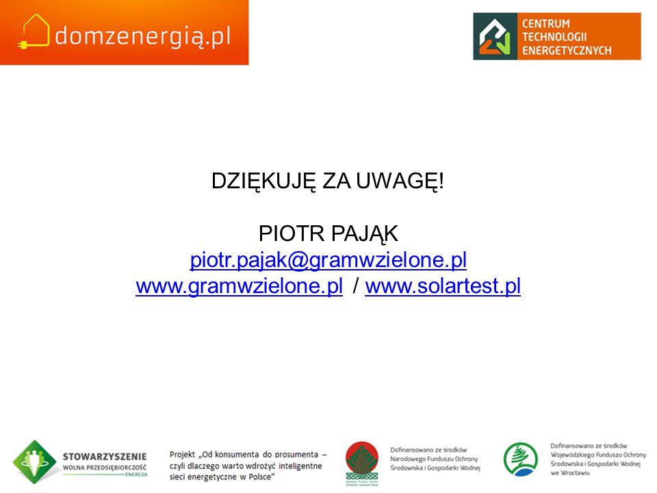 DZIĘKUJĘ ZA UWAGĘ! PIOTR PAJĄK piotr.pajak@gramwzielone.pl www.gramwzielone.pl / www.solartest.pl piotr.pajak@gramwzielone.pl www.gramwzielone.plwww.s