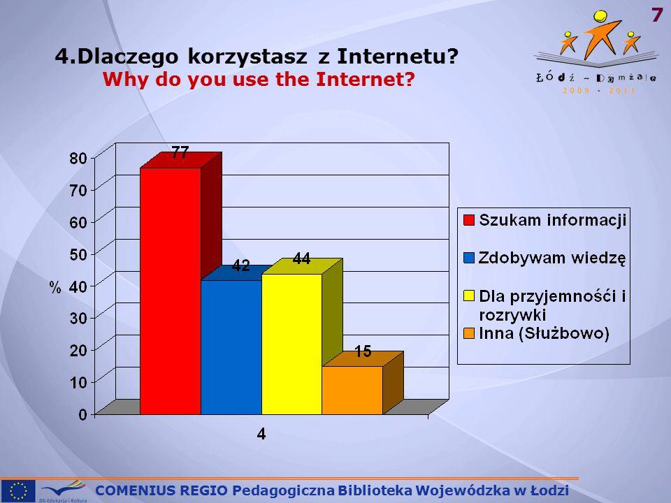 COMENIUS REGIO Pedagogiczna Biblioteka Wojewódzka w Łodzi 7 4.Dlaczego korzystasz z Internetu.