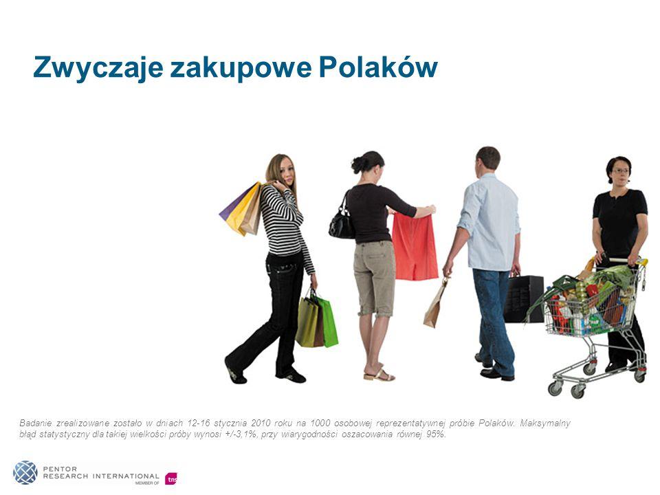 Zwyczaje zakupowe Polaków Badanie zrealizowane zostało w dniach 12-16 stycznia 2010 roku na 1000 osobowej reprezentatywnej próbie Polaków.