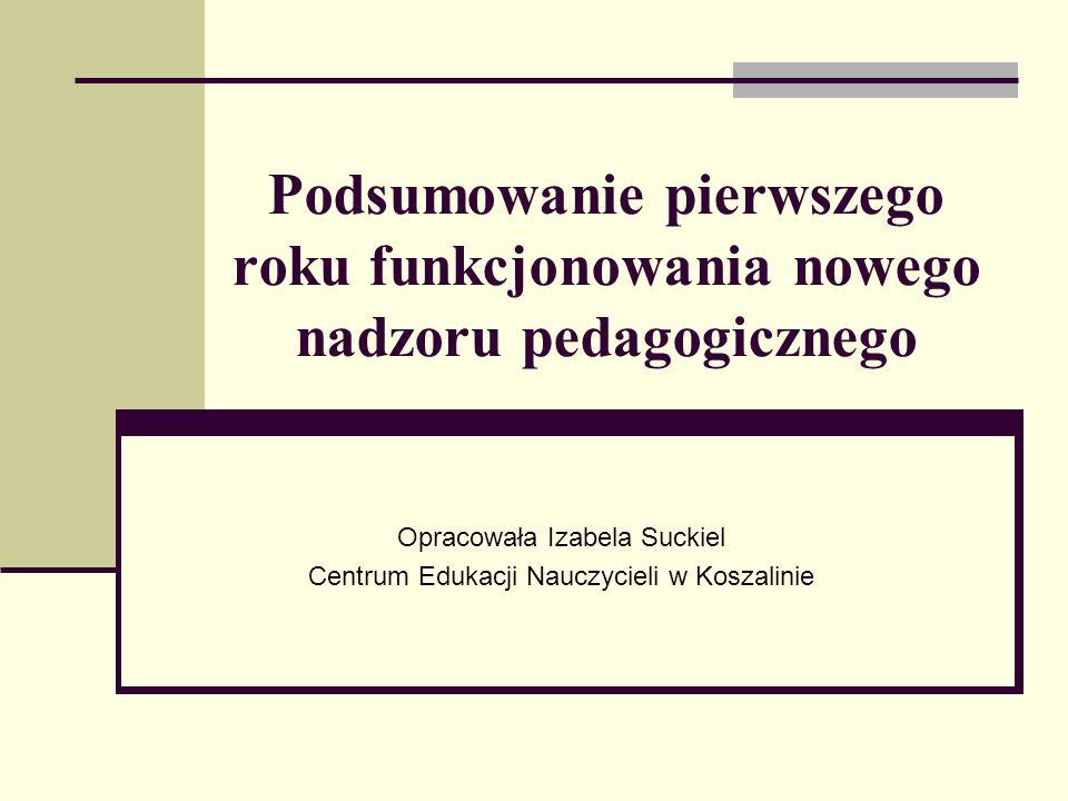 Podsumowanie pierwszego roku funkcjonowania nowego nadzoru pedagogicznego Opracowała Izabela Suckiel Centrum Edukacji Nauczycieli w Koszalinie