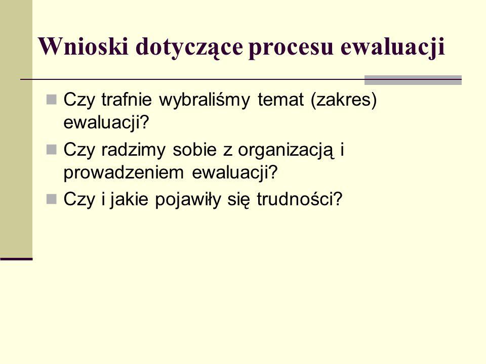 Wnioski dotyczące procesu ewaluacji Czy trafnie wybraliśmy temat (zakres) ewaluacji? Czy radzimy sobie z organizacją i prowadzeniem ewaluacji? Czy i j