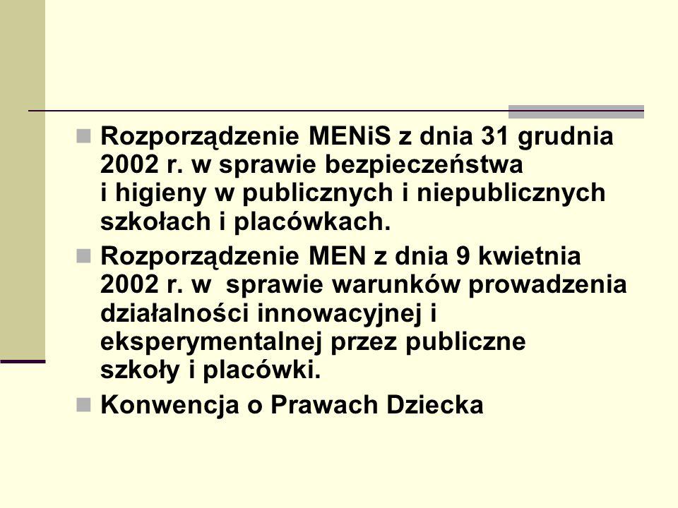 Rozporządzenie MENiS z dnia 31 grudnia 2002 r. w sprawie bezpieczeństwa i higieny w publicznych i niepublicznych szkołach i placówkach. Rozporządzenie