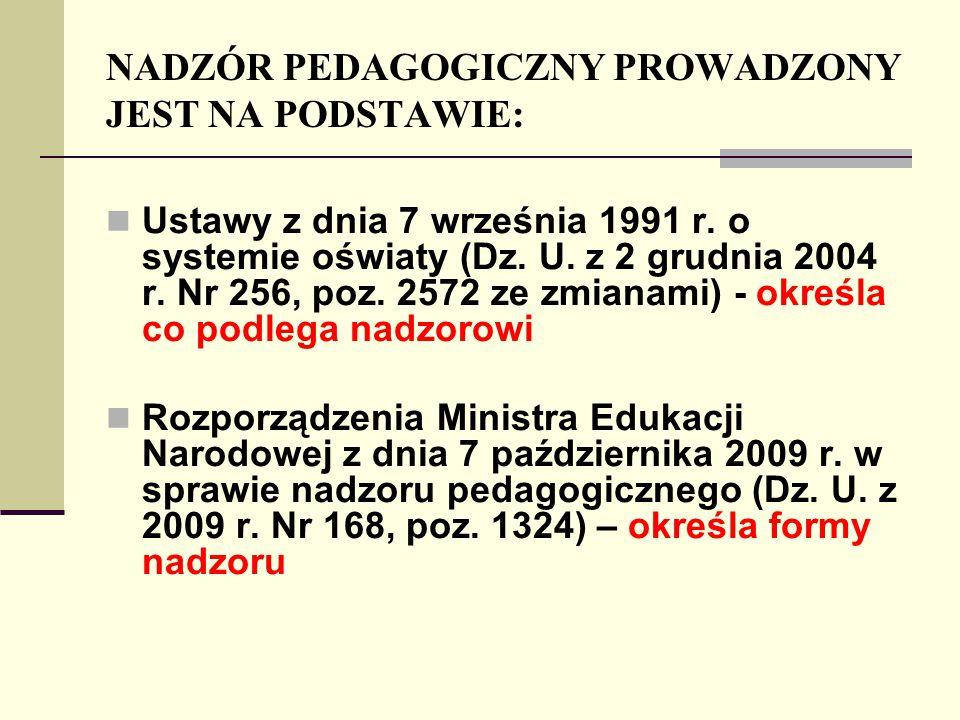 NADZÓR PEDAGOGICZNY PROWADZONY JEST NA PODSTAWIE: Ustawy z dnia 7 września 1991 r. o systemie oświaty (Dz. U. z 2 grudnia 2004 r. Nr 256, poz. 2572 ze