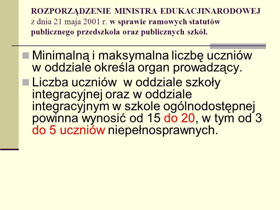 ROZPORZĄDZENIE MINISTRA EDUKACJINARODOWEJ z dnia 21 maja 2001 r. w sprawie ramowych statutów publicznego przedszkola oraz publicznych szkół. Minimalną