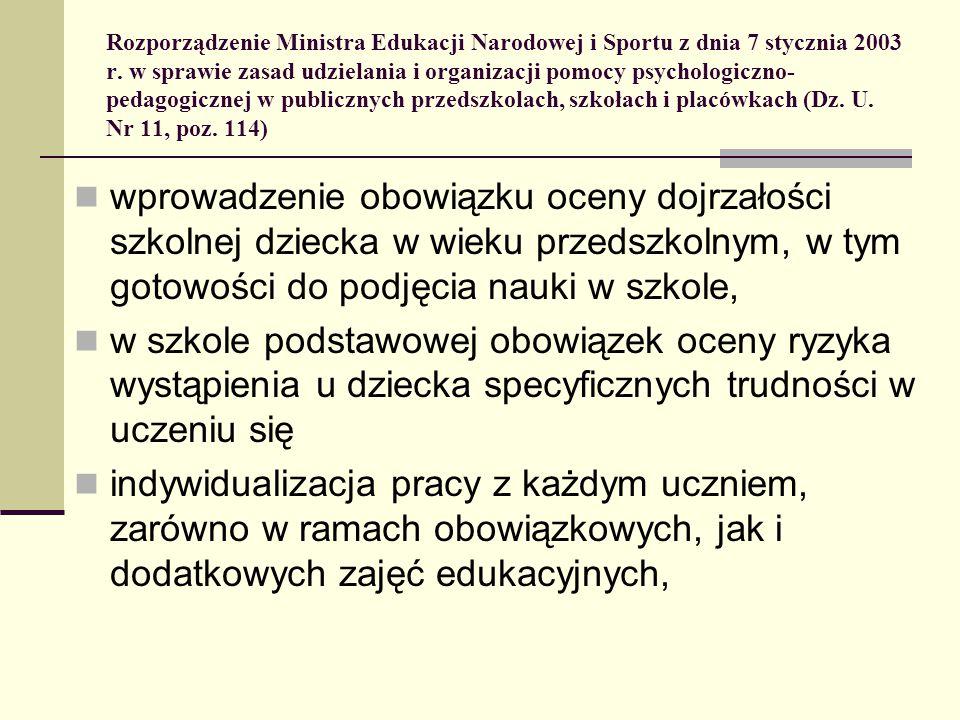 Rozporządzenie Ministra Edukacji Narodowej i Sportu z dnia 7 stycznia 2003 r. w sprawie zasad udzielania i organizacji pomocy psychologiczno- pedagogi