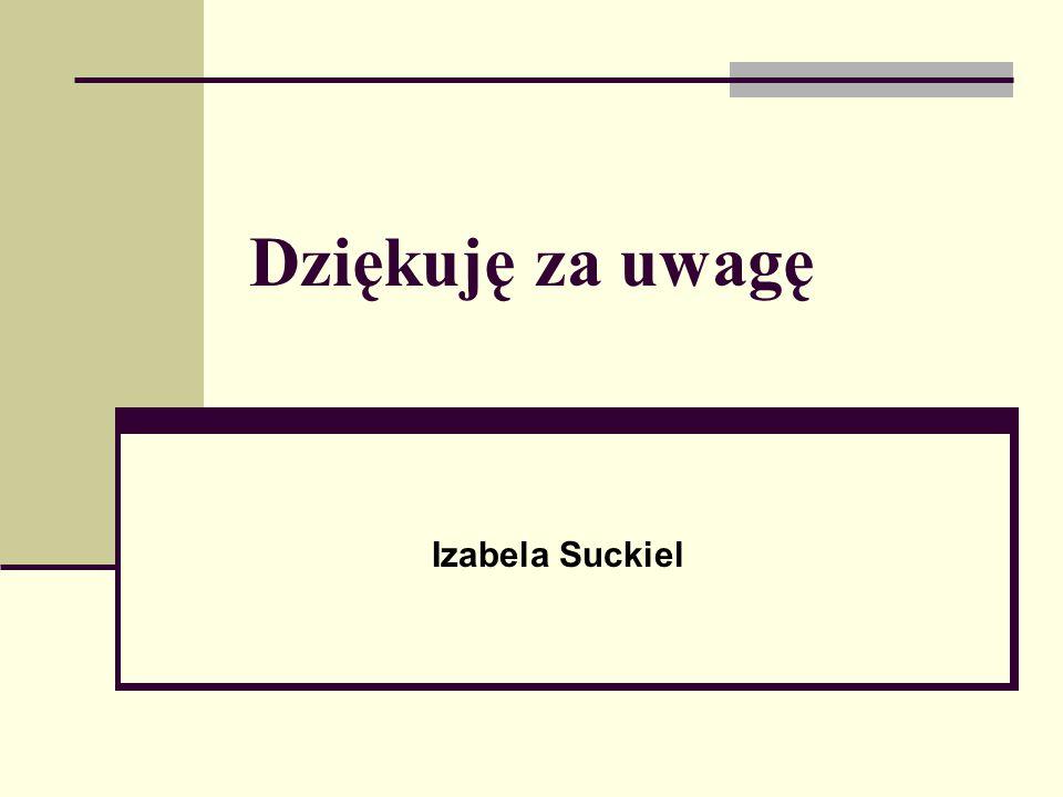 Dziękuję za uwagę Izabela Suckiel