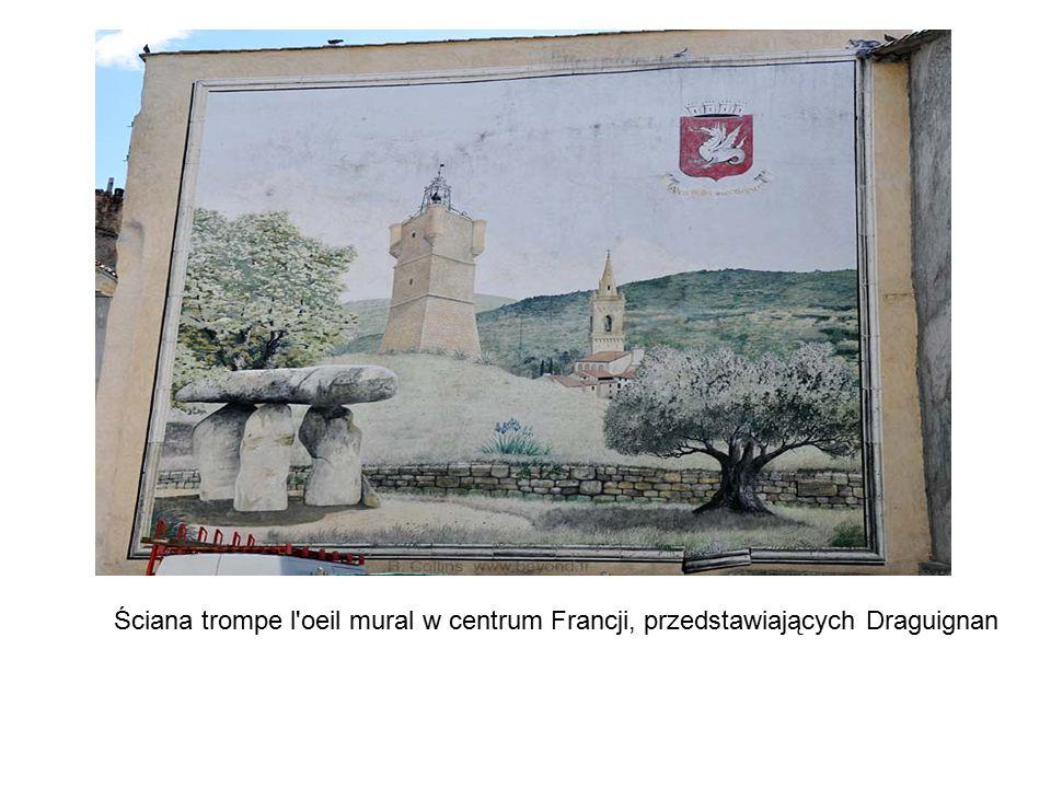 Ściana trompe l'oeil mural w centrum Francji, przedstawiających Draguignan