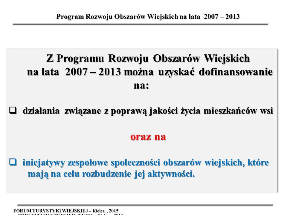FORUM TURYSTYKI WIEJSKIEJ – Kielce, 2015 Z Programu Rozwoju Obszarów Wiejskich na lata 2007 – 2013 można uzyskać dofinansowanie na: na lata 2007 – 201