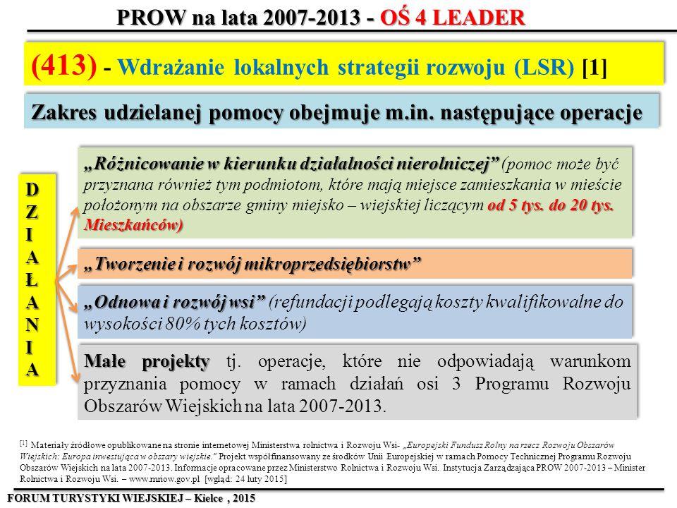 (413) - Wdrażanie lokalnych strategii rozwoju (LSR) [1] [1] Materiały źr ó dłowe opublikowane na stronie internetowej Ministerstwa rolnictwa i Rozwoju