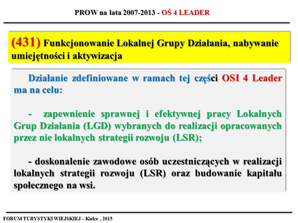 Działanie zdefiniowane w ramach tej części OSI 4 Leader ma na celu: - zapewnienie sprawnej i efektywnej pracy Lokalnych Grup Działania (LGD) wybranych