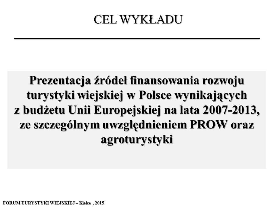 CEL WYKŁADU Prezentacja źródeł finansowania rozwoju turystyki wiejskiej w Polsce wynikających z budżetu Unii Europejskiej na lata 2007-2013, ze szczeg