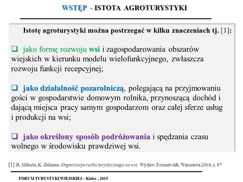 Istotę agroturystyki można postrzegać w kilku znaczeniach tj. : Istotę agroturystyki można postrzegać w kilku znaczeniach tj. [1]:  jako formę rozwoj