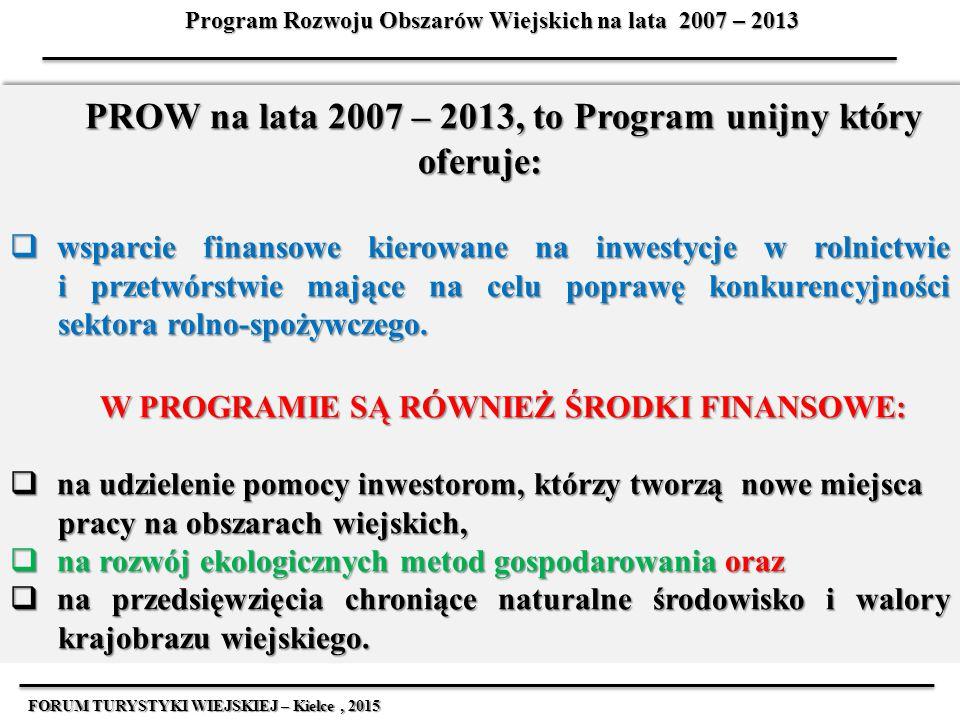 Główne cele Programu Rozwoju Obszarów Wiejskich na lata 2007 – 2013  przyspieszenie modernizacji gospodarstw rolnych,  podwyższanie konkurencyjności przetwórstwa spożywczego i jakości żywności,  ożywienie przemian w rolnictwie i rynku ziemi przez przyznawanie rent strukturalnych oraz premii ułatwiających start zawodowy młodym rolnikom i finansowanie scalania gruntów,  zachęcanie rolników do gospodarowania w sposób przyjazny środowisku oraz do zachowania rodzimych ras i cennych przyrodniczo siedlisk roślin, FORUM TURYSTYKI WIEJSKIEJ – Kielce, 2015