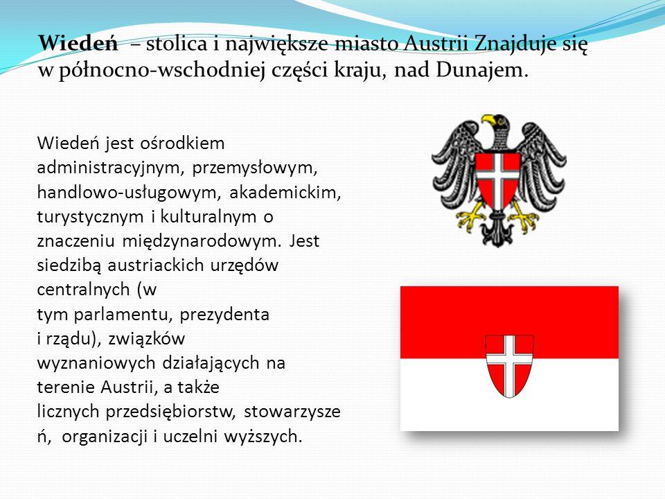Wiedeń jest ośrodkiem administracyjnym, przemysłowym, handlowo-usługowym, akademickim, turystycznym i kulturalnym o znaczeniu międzynarodowym.