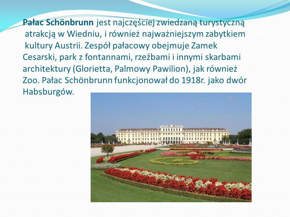 Pałac Schönbrunn jest najczęściej zwiedzaną turystyczną atrakcją w Wiedniu, i również najważniejszym zabytkiem kultury Austrii.