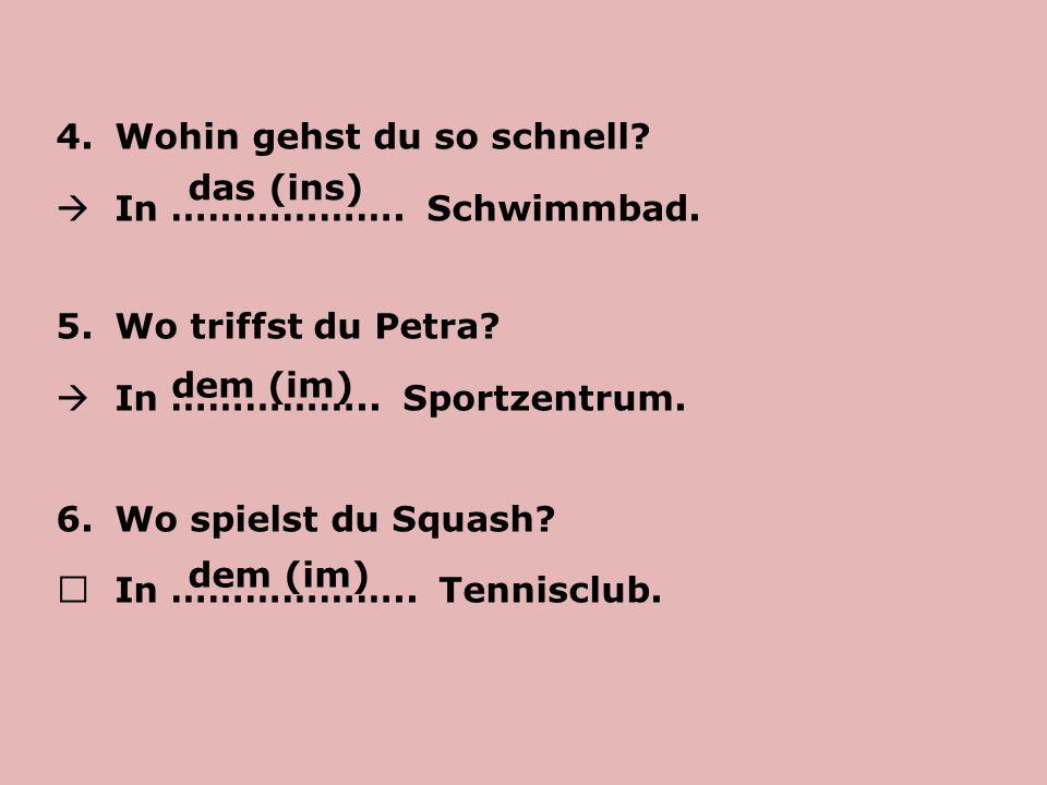 Übung 4 /Seite 43 Szyk zdania: - oznajmującego: 1.Ich ………..