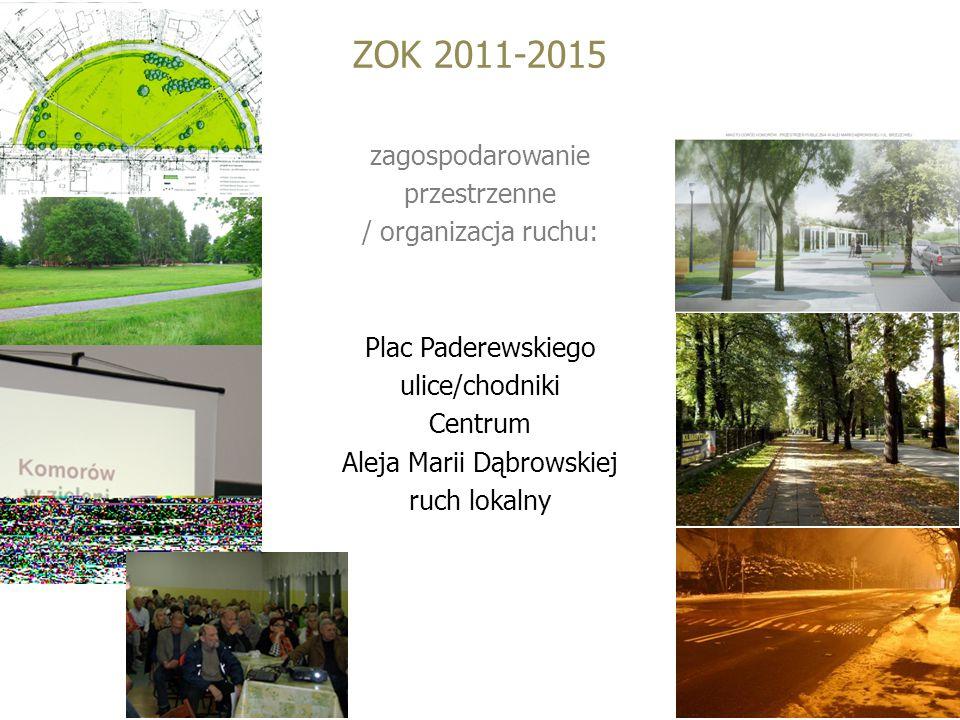 ZOK 2011-2015 zagospodarowanie przestrzenne / organizacja ruchu: Plac Paderewskiego ulice/chodniki Centrum Aleja Marii Dąbrowskiej ruch lokalny