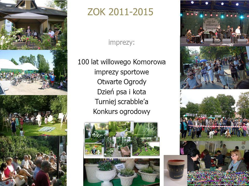 ZOK 2011-2015 imprezy: 100 lat willowego Komorowa imprezy sportowe Otwarte Ogrody Dzień psa i kota Turniej scrabble'a Konkurs ogrodowy