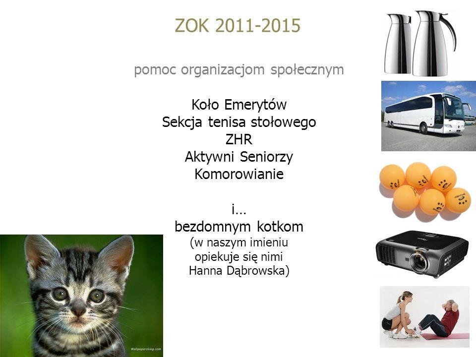 ZOK 2011-2015 pomoc organizacjom społecznym Koło Emerytów Sekcja tenisa stołowego ZHR Aktywni Seniorzy Komorowianie i… bezdomnym kotkom (w naszym imieniu opiekuje się nimi Hanna Dąbrowska)