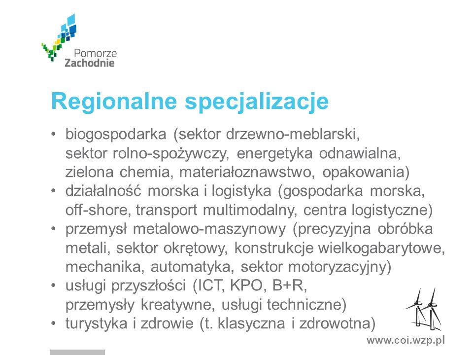 www.coi.wzp.p l biogospodarka (sektor drzewno-meblarski, sektor rolno-spożywczy, energetyka odnawialna, zielona chemia, materiałoznawstwo, opakowania) działalność morska i logistyka (gospodarka morska, off-shore, transport multimodalny, centra logistyczne) przemysł metalowo-maszynowy (precyzyjna obróbka metali, sektor okrętowy, konstrukcje wielkogabarytowe, mechanika, automatyka, sektor motoryzacyjny) usługi przyszłości (ICT, KPO, B+R, przemysły kreatywne, usługi techniczne) turystyka i zdrowie (t.