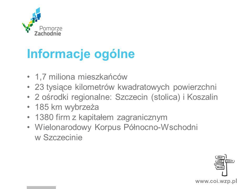 www.coi.wzp.p l Informacje ogólne 1,7 miliona mieszkańców 23 tysiące kilometrów kwadratowych powierzchni 2 ośrodki regionalne: Szczecin (stolica) i Koszalin 185 km wybrzeża 1380 firm z kapitałem zagranicznym Wielonarodowy Korpus Północno-Wschodni w Szczecinie