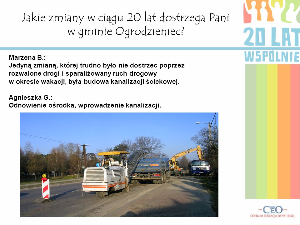 Jakie zmiany w ciągu 20 lat dostrzega Pani w gminie Ogrodzieniec.