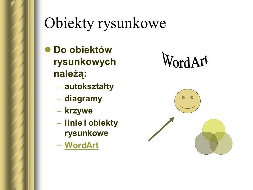 Obiekty rysunkowe Do obiektów rysunkowych należą: –autokształty –diagramy –krzywe –linie i obiekty rysunkowe –WordArtWordArt