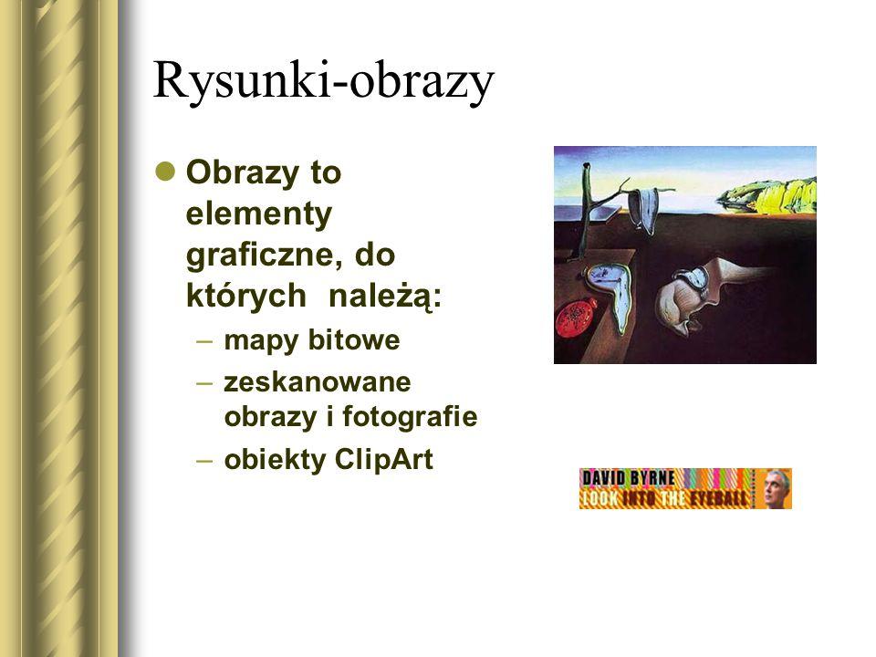 Rysunki-obrazy Obrazy to elementy graficzne, do których należą: –mapy bitowe –zeskanowane obrazy i fotografie –obiekty ClipArt